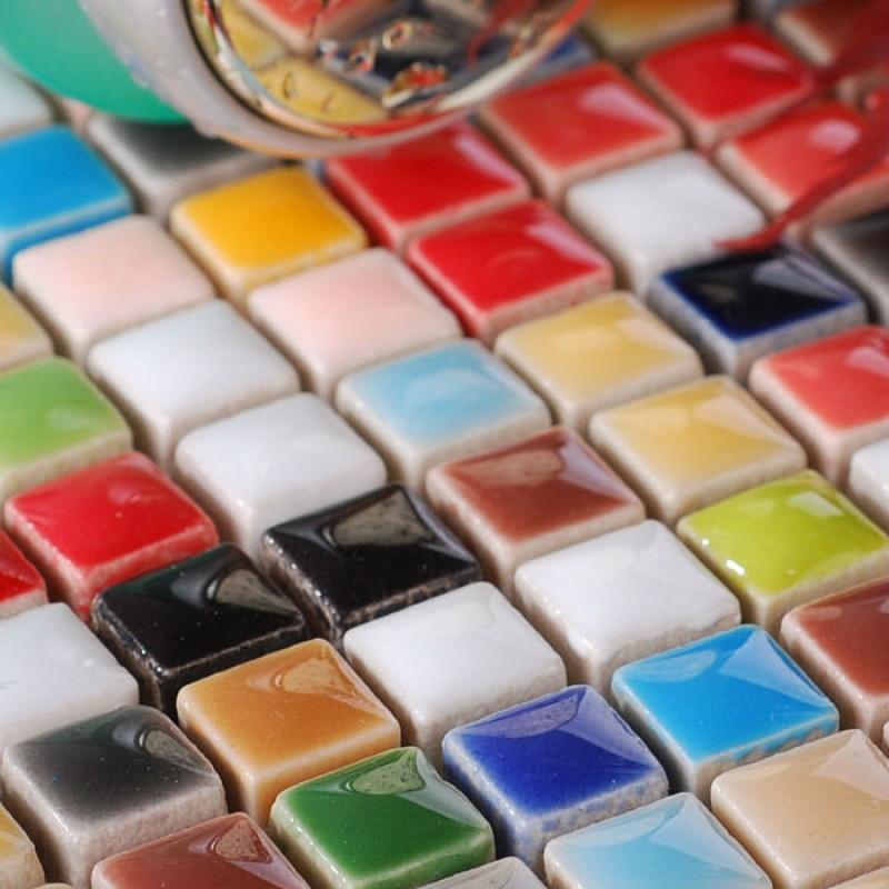 Glaze Porcelain Mosaic Tile Colorful Kitchen Wall Tiles Ceramic Small Squares Backsplash Gcp401