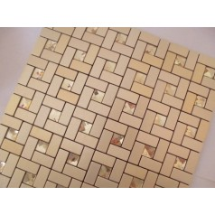 Adhesive Mosaic Tile Gold  Brushed Aluminum Metal Glass Diamond Grid Patterns Peel and Stick Tiles Tile1530-125 1530-125