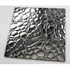 Metallic Mosaic Tile Glossy Metal Tile Brick Bathroom Wall Decor Stainless Steel Backsplash Tiles 6705