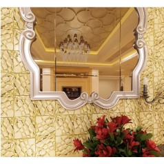 Gold Stainless Steel Backsplash with Base Metal Brick Random Pebble Mosaic Patterns Wall Tiles S6708