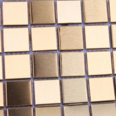 Metallic Mosaic Tile Gold Square Aluminum Metal Wall Decoration Kitchen Backsplash Tiles HD-093