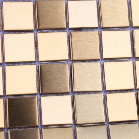 Metallic Mosaic Tile Gold Square Aluminum Metal Wall Decoration Kitchen Backsplash Tiles HD-093