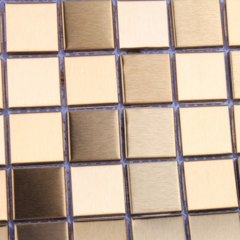 Mosaic Tile Gold Square Aluminum Metal Wall Decoration Kitchen