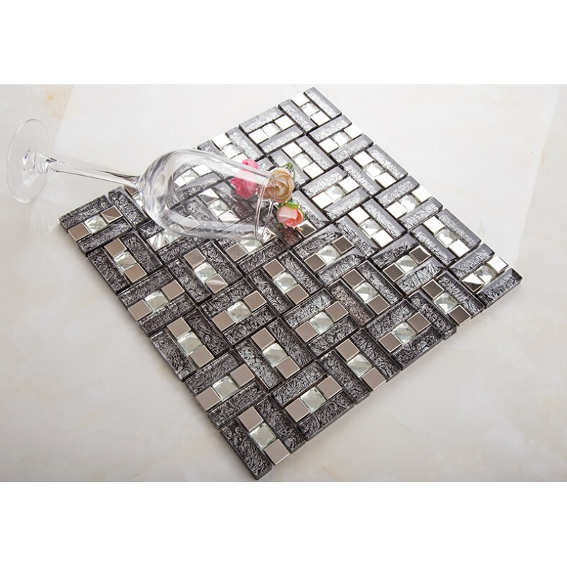 wall mosaic and silver backsplash shower crystal metal tile cheap stainless black diamond glass steel sheets