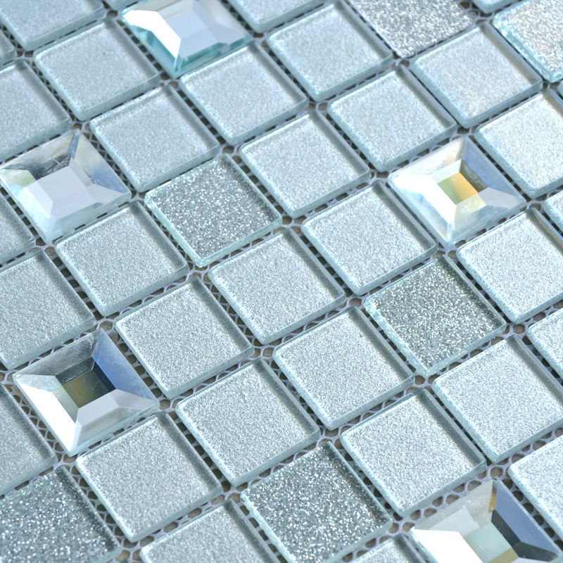 Wholesale Grey Crystal Glass Mosaic Tiles Washroom Backsplash Plated ...