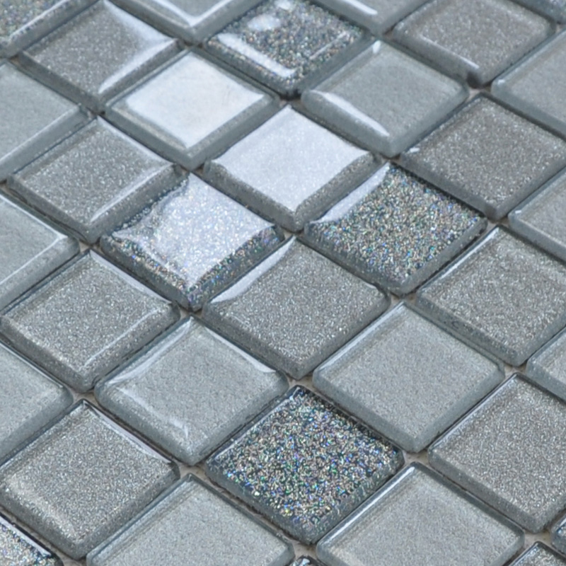 Grey Mosaic Bathroom Floor Tiles : Gray crystal glass mosaic tiles design kitchen bathroom