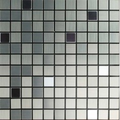 Metallic Mosaic Tile Grey Square Brushed Aluminum Panel Metal Wall Decoration Dining Room Mirror