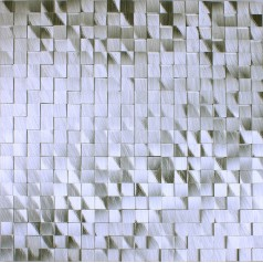 Metallic Mosaic Tile Silver Brushed Aluminum Seamless Metal Tiles Square Wall Kitchen Backsplash DAAS001