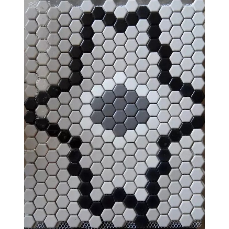 Hex Porcelain Floor Tile Mural