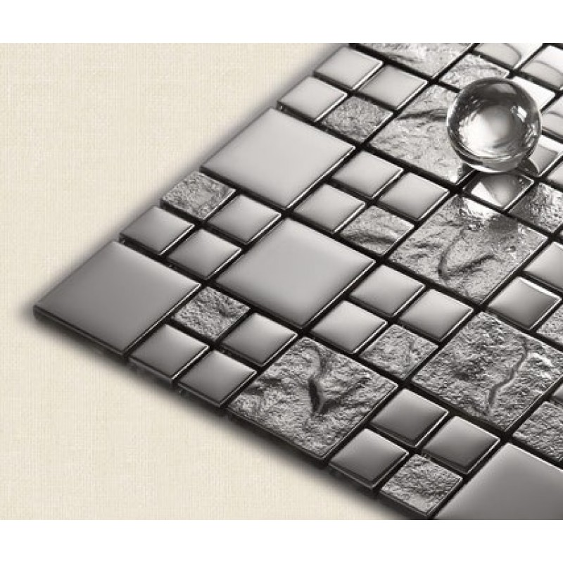 mosaic tiles grey crystal glass backsplash kitchen countertop bathroom plated glass wall floor tile 652