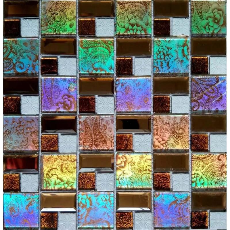 Iridescent Purple Green Mosaic Tile Backsplash Wall Bathroom Beveled Mirror Glass