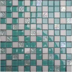 "Glossy Swimming Pool Glass Mosaic Tile Backsplash 7/8"" Bathroom Floor Tiles"
