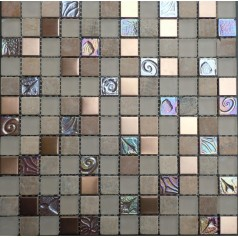 """Frosted Glass Backsplash In Kitchen 7/8"""" Iridescent Mosaic Natural Stone Wall Tiles"""