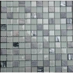 """Stone And Glass Mosaic Tiles Grey And White 7/8"""" Square Marble Tile Backsplash"""