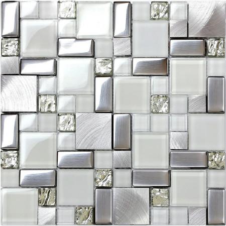 Backsplash Tile Brushed Aluminum Tiles Silver Metal and Glass Mosaic Kitchen Wall Decor JY63