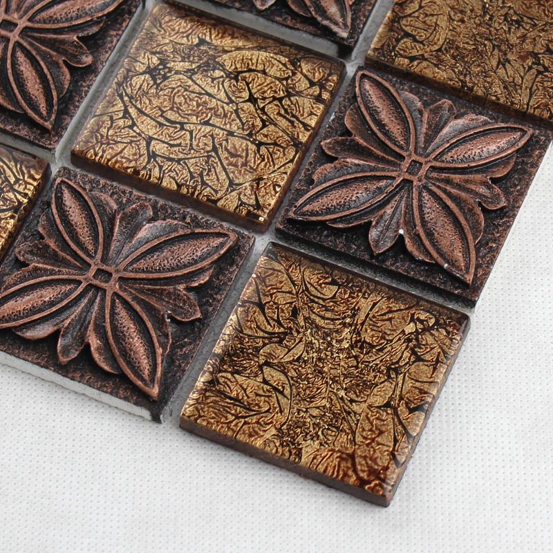 Brown Glass Tile Kitchen Backsplash: Glass Tile Brown Glass Mosaic Tiles Crystal Glass Tile