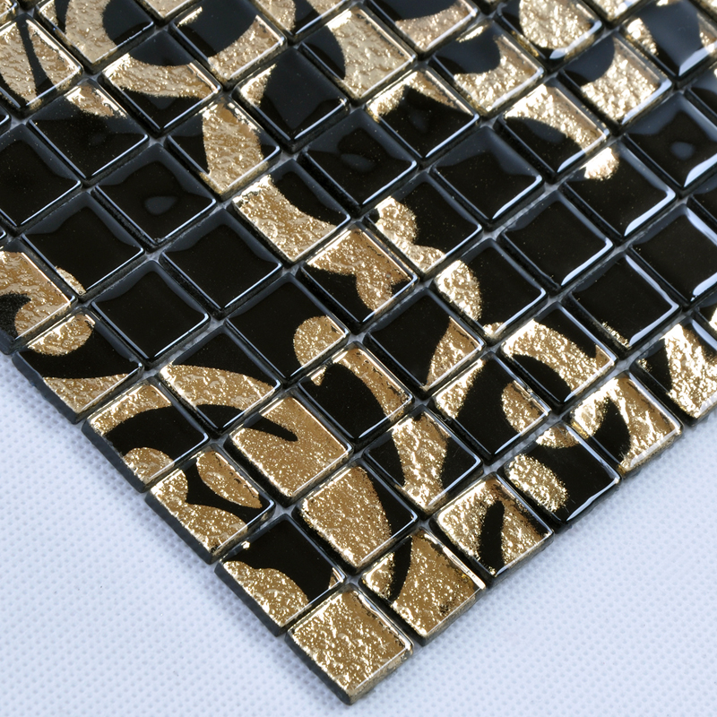Marble Floor Tile Mosaic Murals : Gold and black tile mural puzzle mosaic glass wall murals