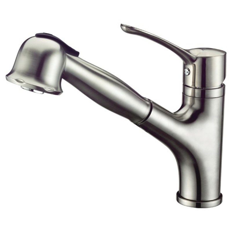 buy single lever pull out spray kitchen sink faucet brushed nickel
