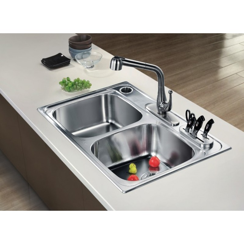 ... Kitchen 304 Stainless Steel Sink Chrome Nickel Equal Double Bowl With  Knife Shelf And Utensil Holder
