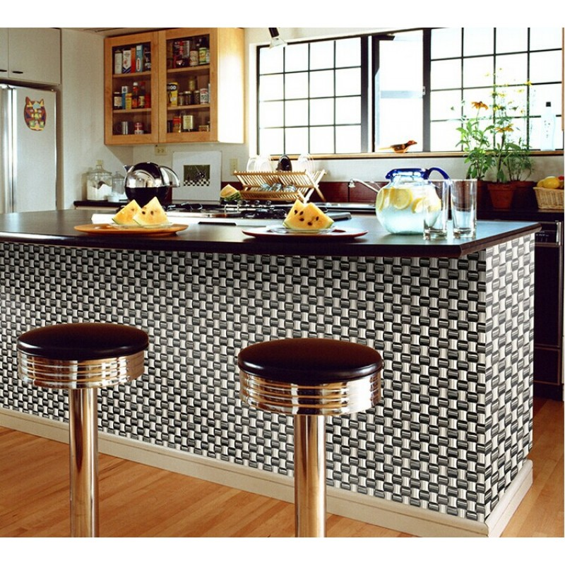 metallic kitchen wall tiles glossy stainless steel mosaic tile interlocking arched 7478