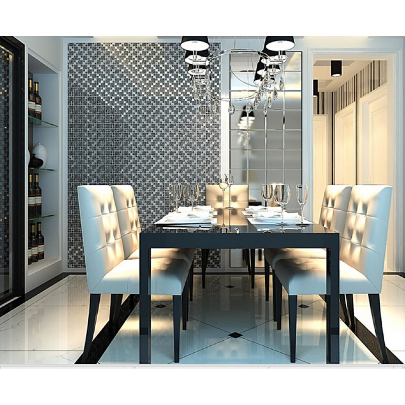 Silver Kitchen Wall Tiles: Silver With Black Crystal Glass Mosaic Tiles Plated Glass