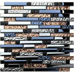 Plated Gass Subway Tile Brown Interlocking Mosaic Tiles for Fireplace Wall Border Crystal Glass Mosaics ks180