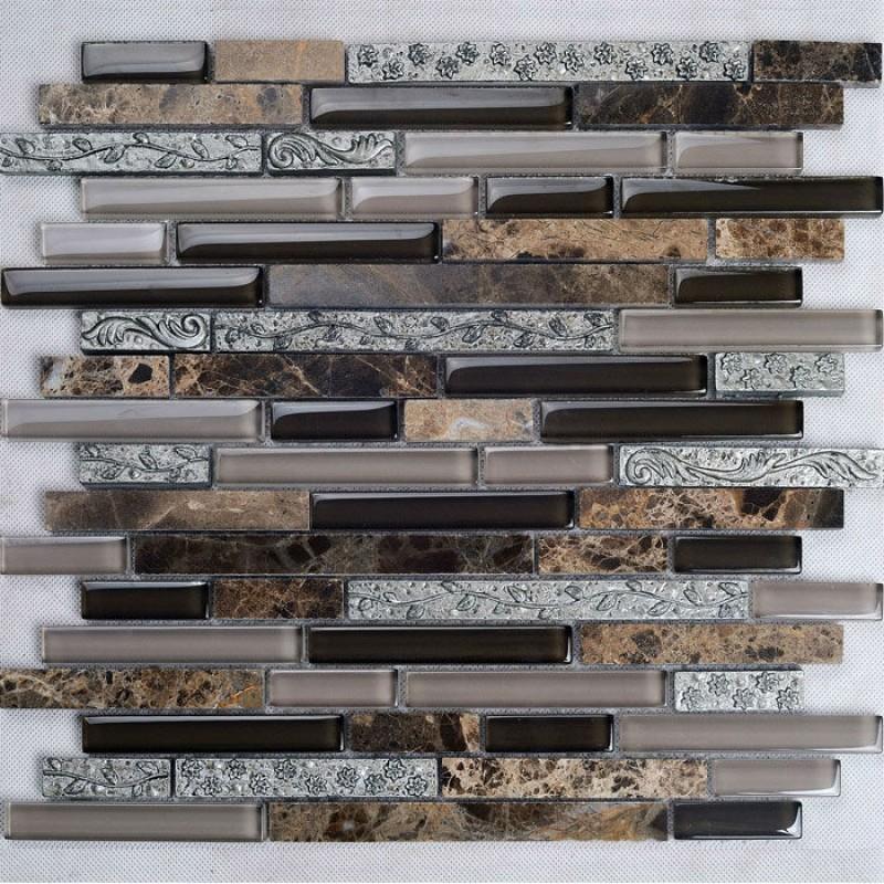 brown stone with crystal mosaic tile sheet backsplash wall