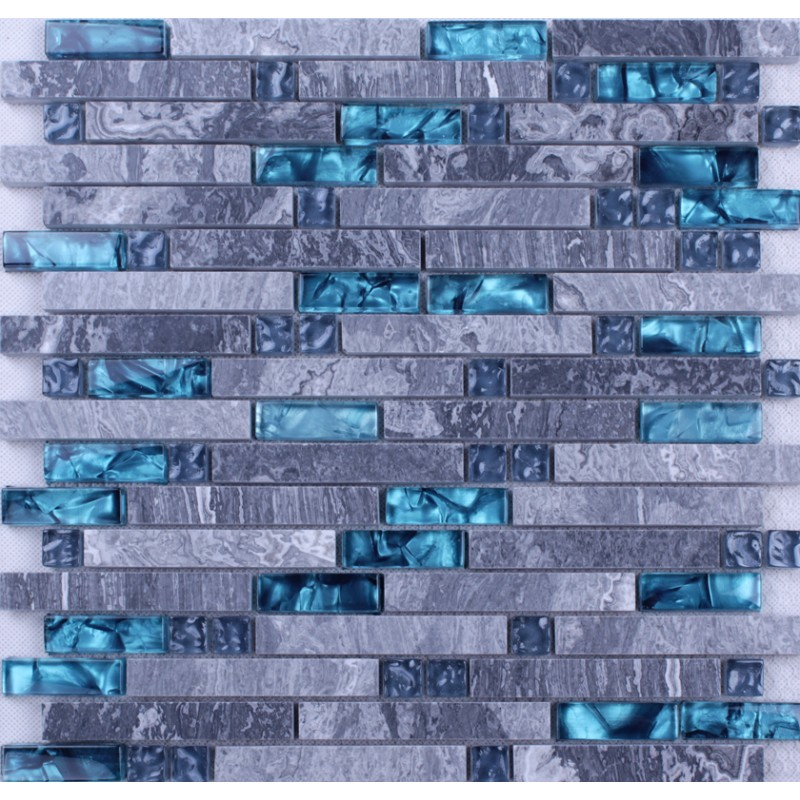 Blue Gl Mosaic Clear Crystal Gray Marble Backsplash Random Wave Pattern Kitchen Wall Tiles