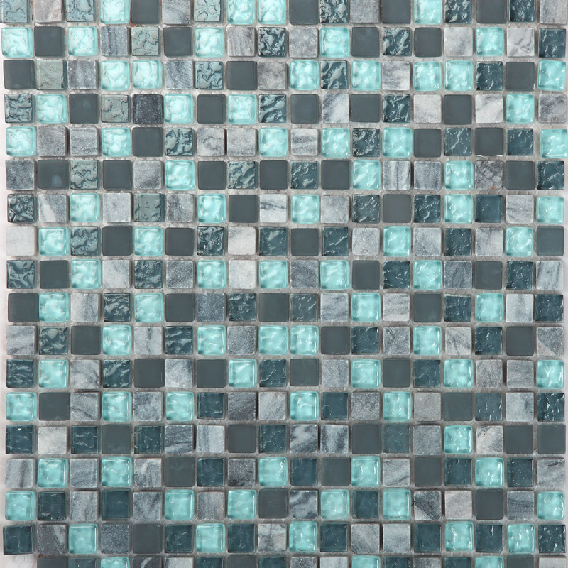 Stone and glass mosaic sheets blue square tiles natural for Blue mosaic backsplash