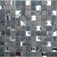"Mirror Mosaic Tiles Sheet Pyramid Patterns 1"" Stone And Glass Tile Backsplash"