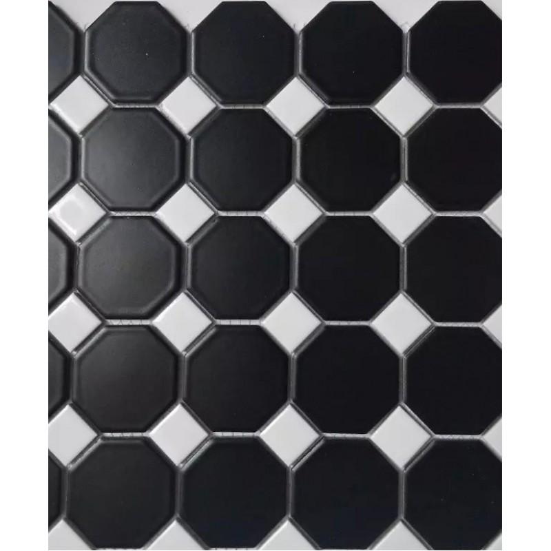 Chess Board Black Ceramic Wall Art Octagonal Dot Matte Porcelain Floor Tile