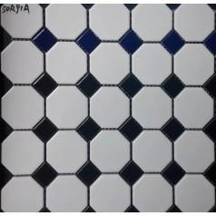 Chess Board Black Ceramic Wall Art Octagonal & Dot Matte Porcelain Floor Tile