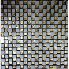 "Crystal Glass Plated Mosaic Gold 3/5"" Square Glass Tile Backsplash Wall Bathroom"