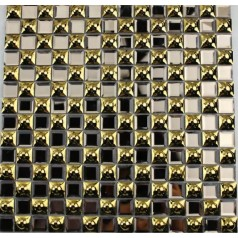 "Crystal Glass Plated Mosaic Gold 3/5"" Square Glass Tile Backsplash Wall Fireplace"
