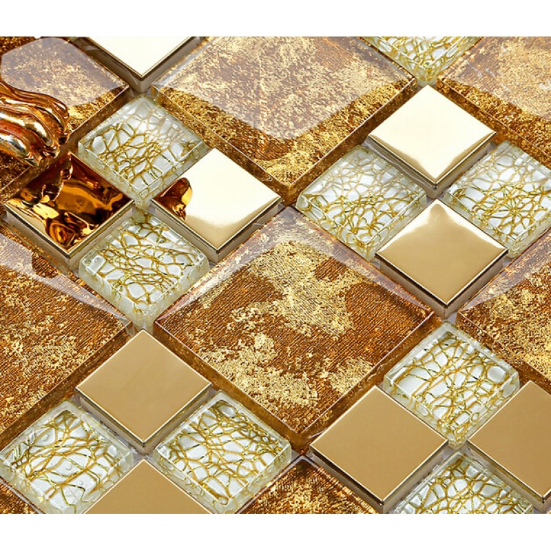 crystal glass mosaic plated tiles art design wall tile hall ...