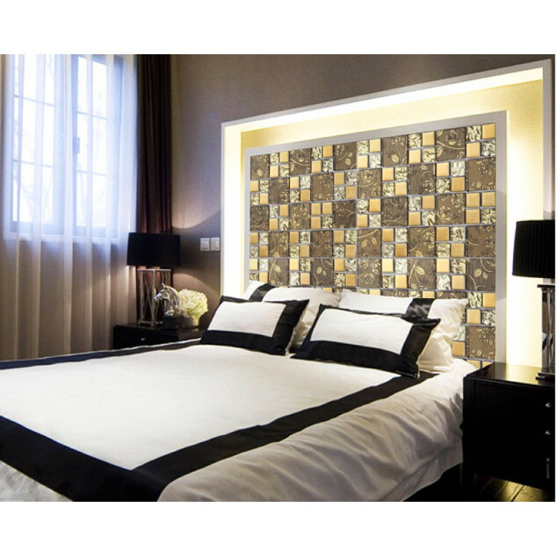 Gold Plated Glass Mosaic Sheets Bathroom Wall Backsplash Tiles Bedroom Glass Tile Kitchen Backsplashes Sblt117