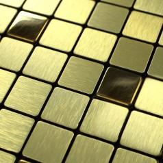 Metal Tile Backsplash Kitchen Gold Stainless Steel Tiles Square Metallic Brushed Aluminum Mosaic Art