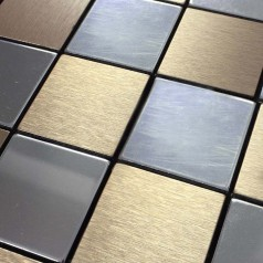 Metal Tile Backsplash Kitchen Stainless Steel Tiles Square Metallic Mosaic Brushed Aluminum Panel