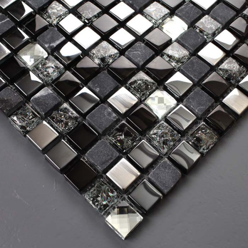 Black Glass Mosaic Diamond Gray Marble Plated Silver Interiors Inside Ideas Interiors design about Everything [magnanprojects.com]