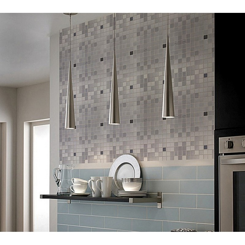 Metallic Mosaic Tile Grey Square Brushed Aluminum Panel Metal Wall ...