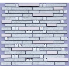 Metal and Glass Diamond Stainless Steel Backsplash Tiles Crystal Glass Mosaic Interlocking Tile H5153