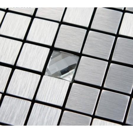 Adhsive Mosaic Tile Backsplash Square Brushed Metal Glass Diamind Tile Peek and Stick Mosaic Easy Wall Tiles 6122