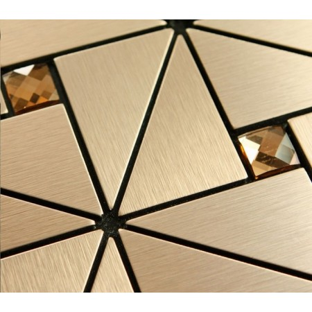 Peel and Stick Tiles Backsplash Triangle Patterns Brushed Metal Glass Diamond Tile Adhsive Mosaic Wall Decor 6126