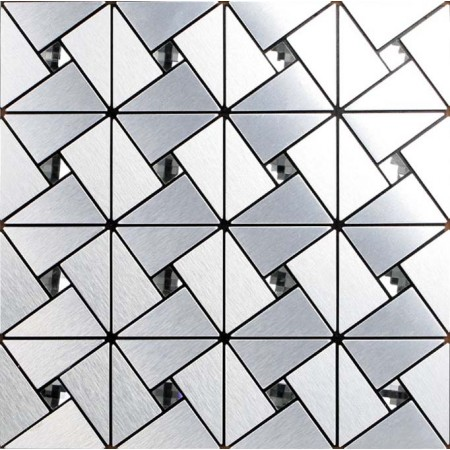 Peel and Stick Tile Backsplash Triangle Patterns Silver Adhsive Mosaic Brushed Metal Glass Diamond Tile 6127