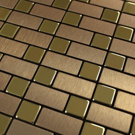 Metallic Mosaic Tile Backsplash Strip Brushed Gold Aluminum Square Dark Brown Stainless Steel Blend