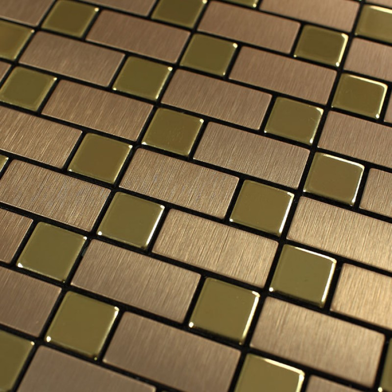 Metallic Mosaic Tile Backsplash Strip Brushed Gold Aluminum Square Dark Brown Stainless Steel Blend