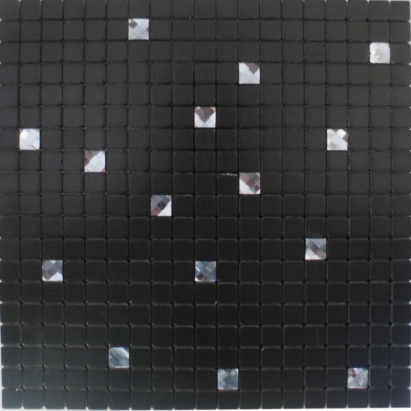 Adhesive Mosaic Tile Backsplash Black Aluminum Metal And