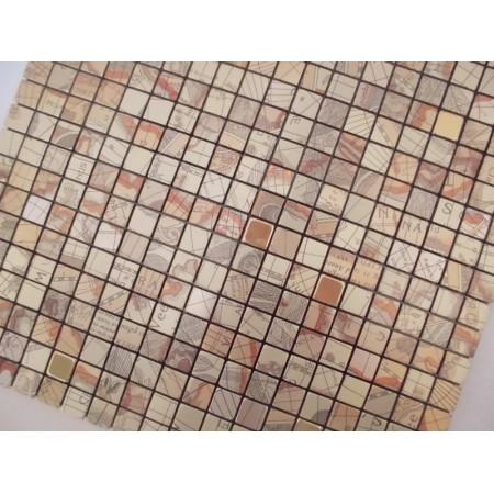 Adhesive Mosaic Tile Kitchen Backsplash Gold Aluminum Metal and Glass Diamond Peel and Stick Tiles Tile MH-16