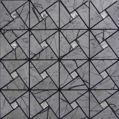 Peel and Stick Tile Pinwheel Patterns Gray Aluminum Metal Wall Tile Glass Diamond Tiles Adhsive Mosaic MH-ASJ-002