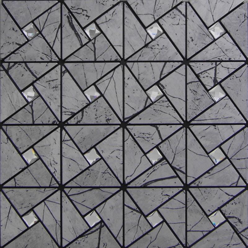 L And Stick Tile Pinwheel Patterns Gray Aluminum Metal Wall Gl Diamond Tiles Adhsive Mosaic